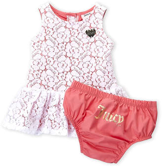 Juicy Couture Newborn Girls) Two-Piece Floral Dress & Bloomers Set