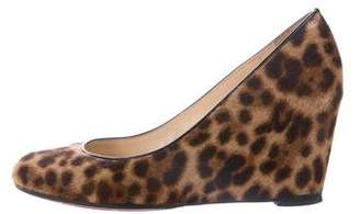 Christian Louboutin Ponyhair Leopard Print Wedge Pumps