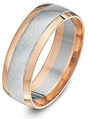 Theia Two Colours 9ct White and Rose Gold Court Shape Matt Centre 7mm Wedding Ring - Size W