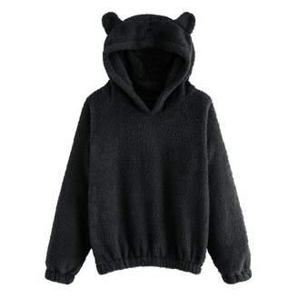 CieKen Women Hoodie Sweatshirts for Women,Women's Long Sleeve Fleece Sweatshirt Warm Cute Cat Shape Fuzzy Hoodie Pullover,Women's Novelty Tops & Tees,Whtie,M