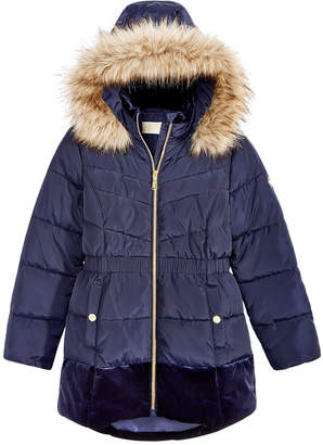 Michael Kors Big Girls Hooded Velvet-Trim Jacket with Faux-Fur Trim