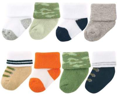 Size 0-6M 8-Pack Camo Socks in Green