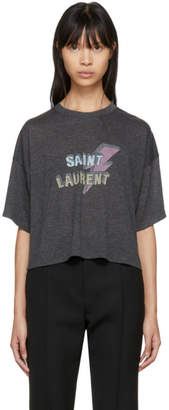 Saint Laurent Black Cropped Lightning Bolt T-Shirt