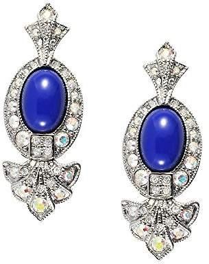 Lapis Cristalina Blue Art Deco Earrings of 3.5cm Long