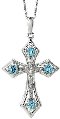 Silver Cross FINE JEWELRY Genuine Blue Topaz and Diamond-Accent Sterling Pendant Necklace