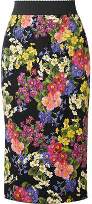 Dolce & Gabbana Printed Silk-blend Pencil Skirt - Black