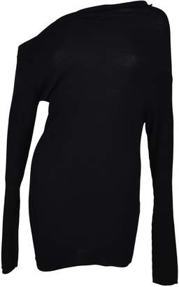 Jil Sander Navy Asymmetric Neck Sweater