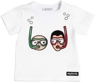 Dolce & Gabbana Designers Patches Cotton Jersey T-Shirt