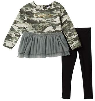 Bebe Camo Dress & Leggings Set (Toddler Girls)