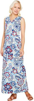 Denim & Co. Sleeveless V Neck Printed Maxi Dress