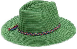 Inverni frayed trim woven hat