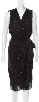 L'Agence Lurex-Accented Wrap Dress