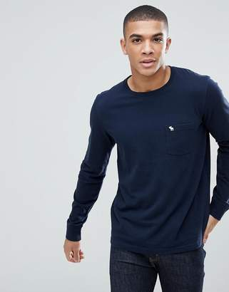 Abercrombie & Fitch Crew Neck Pocket Long Sleeve Top Tonal Logo in Navy
