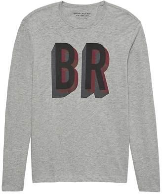 Banana Republic Vintage 100% Cotton Long-Sleeve Logo T-Shirt