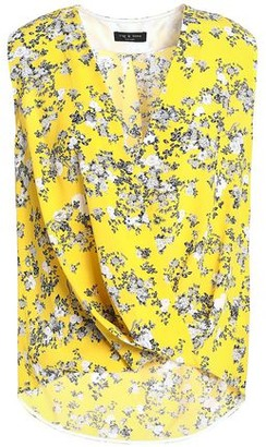 Rag & Bone Wrap-Effect Floral-Print Silk Crepe De Chine Top