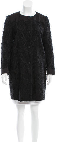 pradaPrada Floral-Embroidered Knee-Length Coat