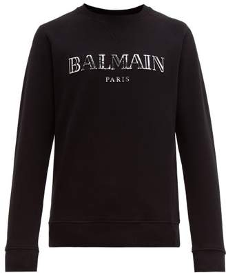 Balmain 3d Logo Cotton Sweatshirt - Mens - Black Silver