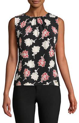 Calvin Klein Floral-Print Pleat-Neck Tank Top