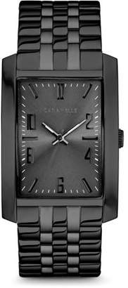 Bulova CARAVELLE Designed by Caravelle Men's Rectangular Black-Tone Stainless Steel Bracelet Dress Watch