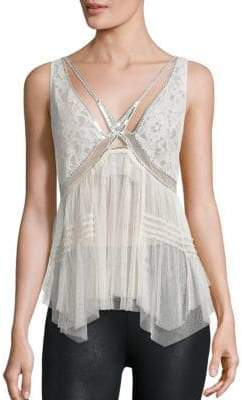 Free People On The Town Lace Tulle Tank Top