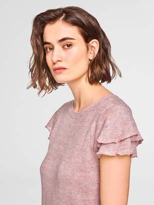 White + Warren Linen Ruffle Sleeve Knit Tee