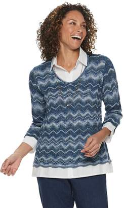 b8422ffbe57a3 Alfred Dunner Women s Studio Chevron Mock-Layer Sweater