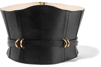Embellished Croc-effect Leather Waist Belt - Black