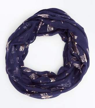 New Look Navy Metallic Dragonfly Print Snood