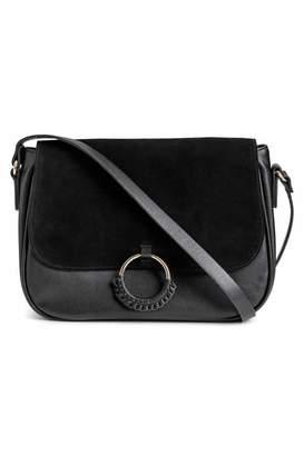 H&M Shoulder Bag with Suede Detail - Black - Women