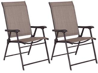 Pool' Giantex Patio Folding Sling Chairs Furniture Camping Deck Garden Pool Beach (Set of 2)