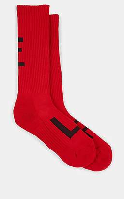 Yohji Yamamoto Men's Logo-Knit Cotton-Blend Mid-Calf Socks - Red