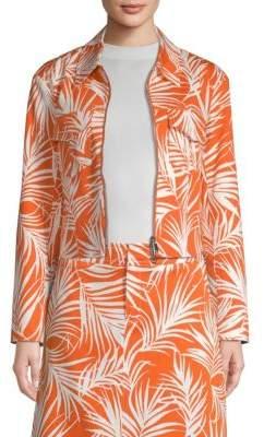 Long-sleeved silk maxi dress in palm-leaf print BOSS mrfOlvwX