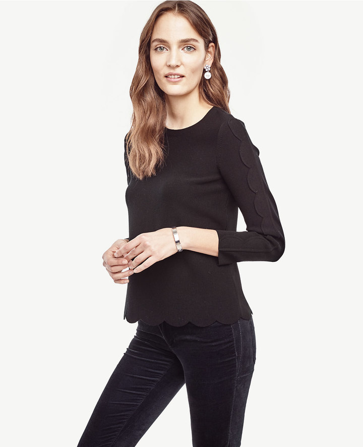Ann Taylor Petite Scallop Trim Top