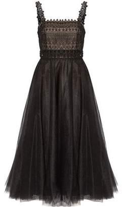 Marchesa Embellished Pleated Tulle Midi Dress