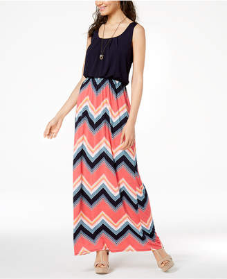 Trixxi Juniors' Printed-Skirt Maxi Dress