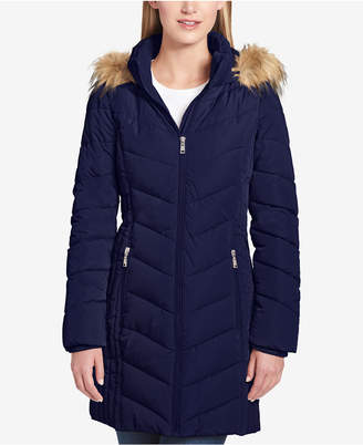 Tommy Hilfiger (トミー ヒルフィガー) - Tommy Hilfiger Petite Faux-Fur-Trim Hooded Puffer Coat