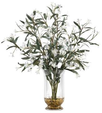 D&W Silks White Wild Flowers in Glass Hurricane Vase