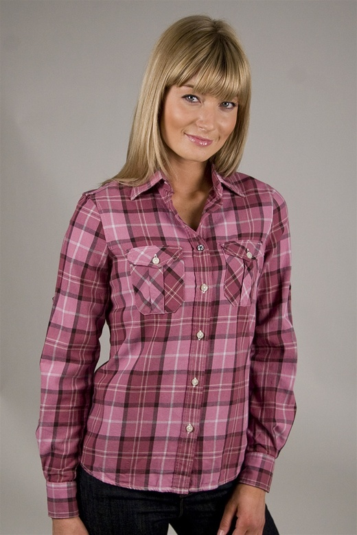Shirt by Shirt Plaid Button Flannel in Pink