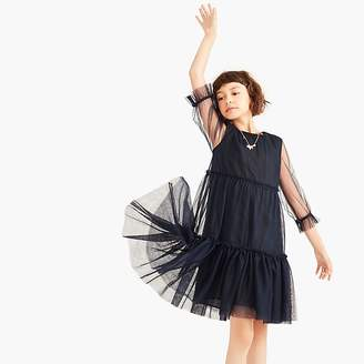 J.Crew Girls' dress with tiered tulle overlay