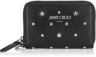 Jimmy Choo DANNY Black Leather Small Zip Around Wallet with Silver Flat Star Studs