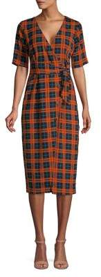 Miss Selfridge Check Buttoned Midi Dress