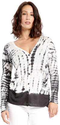 MISS HALLADAY Women's Hacci Knit Tie Dye Button Up Cardigan with Pocketes Linen