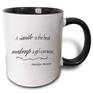 Monroe 3dRose A smile is the best makeup a girl can wear, Marilyn quote - Two Tone Black Mug, 11-ounce
