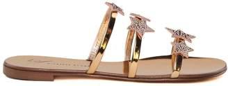 Giuseppe Zanotti Anya Star Crystal-embellished Mirrored-leather Sandals