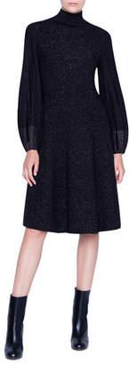 Akris Shimmered Wool-Crepe Blouson Sleeve Dress