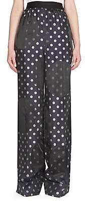Maison Margiela Women's Dots Jacquard Wide-Leg Pants