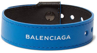 Balenciaga Logo-Print Leather Bracelet - Blue