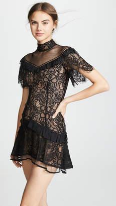 Jonathan Simkhai Mixed Lace Mockneck Minidress