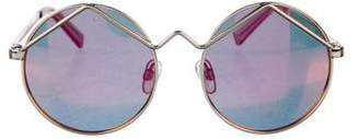 Le Specs Holographic Round Sunglasses