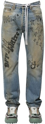 Off-White Off White Printed Relaxed Cotton Denim Jeans